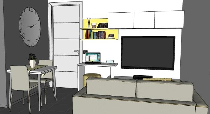 Progetto per cucina e soggiorno: vista della zona giorno / pranzo
