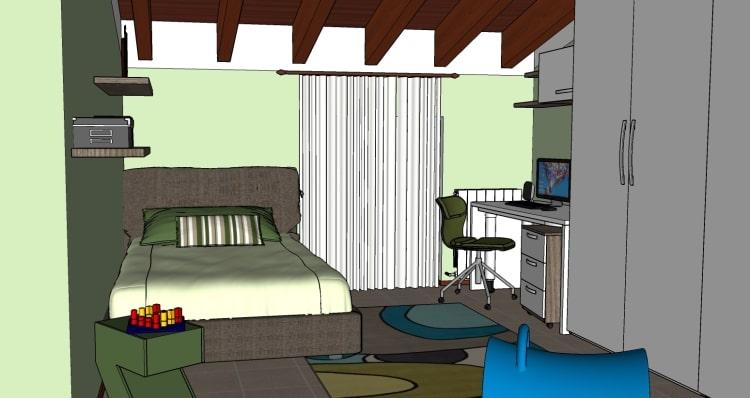 Cameretta in mansarda: zona dedicata al riposo, completa di letto una piazza e mezza