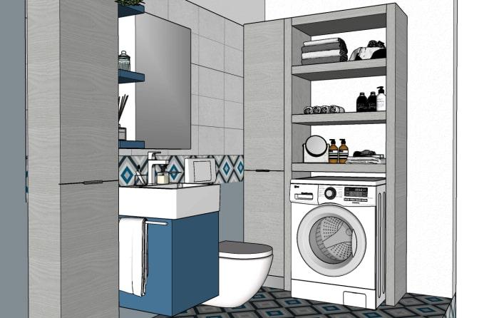 Progetto della zona lavanderia con mobile ponte per lavatrice