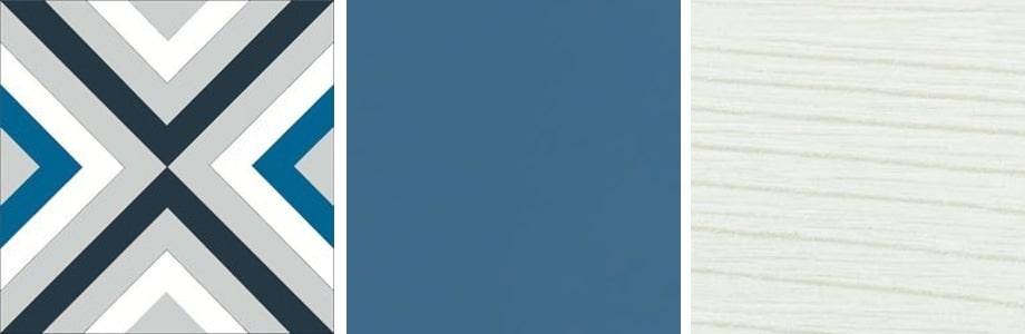 Palette di colori e finiture proposte per il bagno di servizio