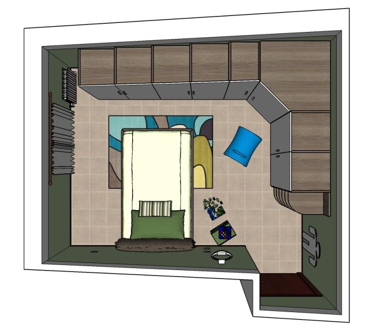 Ipotesi n.2 del progetto, con letto perpendicolare e senza scrivania