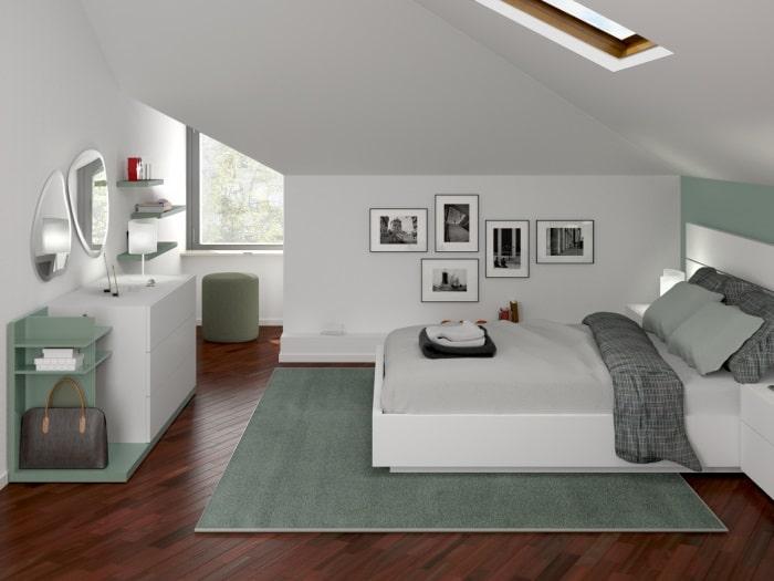 Progetto per arredare una camera in mansarda: render fotorealistico