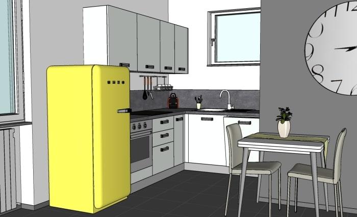 Progetto open space di 16 mq: vista della cucina ad angolo