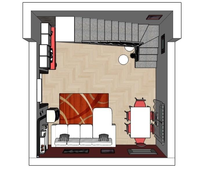 Piantina del soggiorno con scala aperta