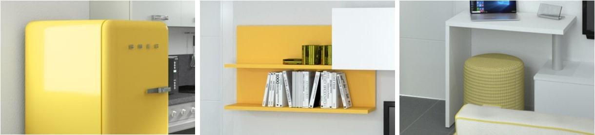 Esempi dell'uso del colore giallo nell'appartamento