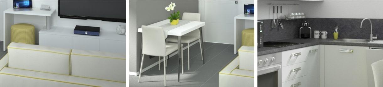 Esempi dell'uso del colore grigio nell'appartamento