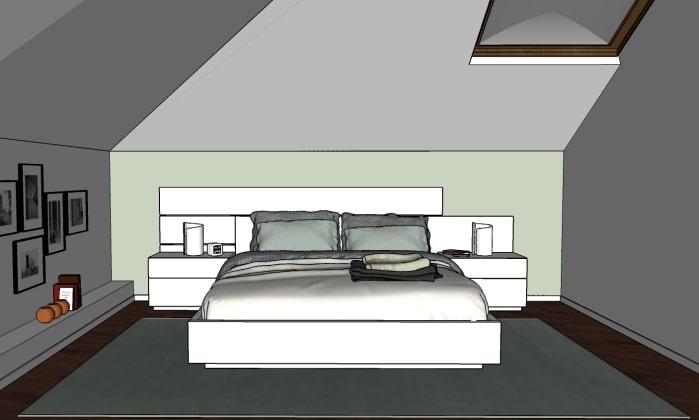 Camera mansardata: dettaglio della parete letto