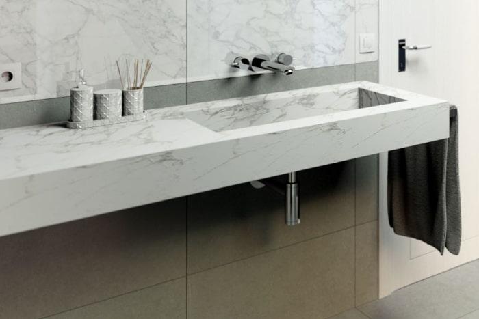 Progetto bagno: dettaglio del lavabo integrato