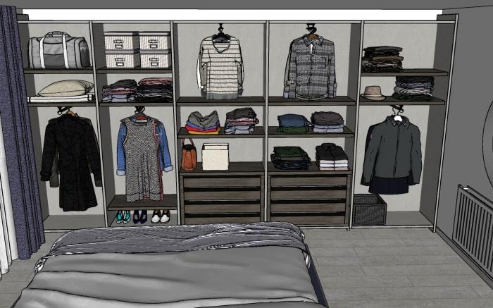 Progetto camera: accessori interni previsti per l'armadio