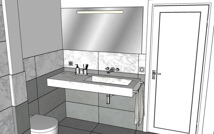 Progetto bagno: parete con vasca e specchio