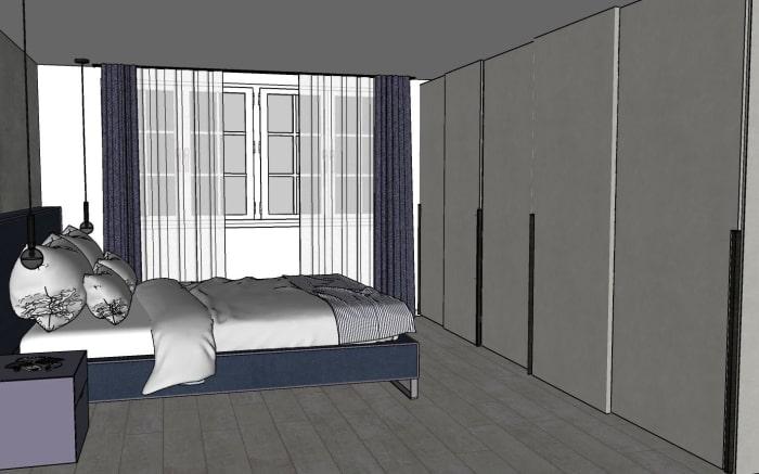 Progetto camera: bozza del progetto, dettaglio armadio