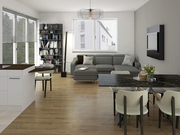 Cucina e soggiorno insieme: render fotorealistico