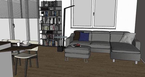 Progetto sviluppato per l'angolo relax / zona lettura