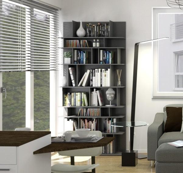 Libreria a parete inserita nel progetto dell'open space