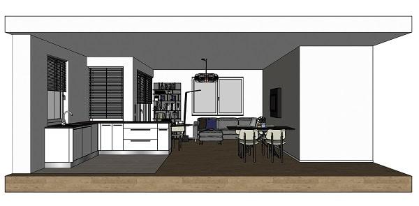 Open space con cucina e soggiorno: vista laterale