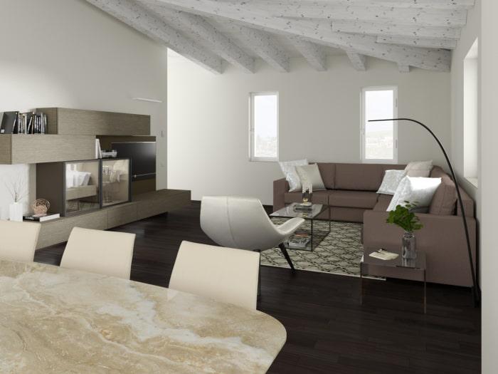 Progetto terminato: render fotorealistico del soggiorno arredato