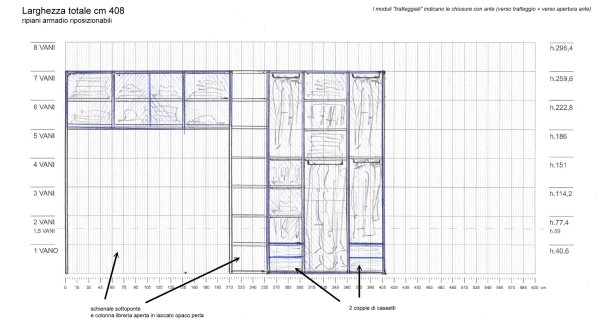Cassetti inferiori, una colonna con ripiani inferiori, una con ripiani superiori e quattro vani con tubi appendiabiti.