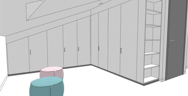 Armadio per mansarda realizzato su misura. L'armadio segue la forma del tetto.