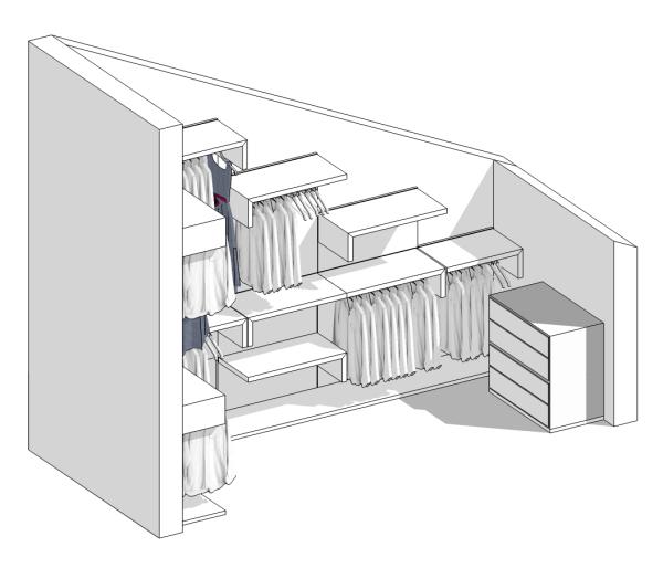 Idee il progetto di pamela una cabina armadio in mansarda arredaclick - Camera da letto sottotetto ...