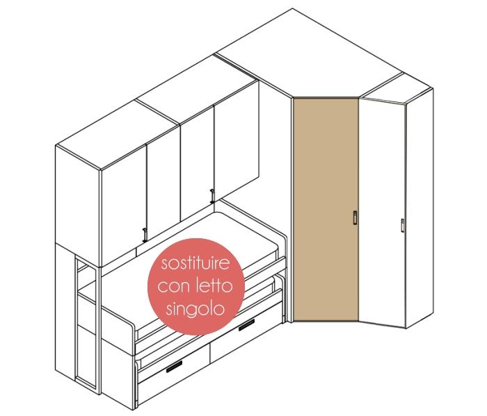 Arredaclick blog il progetto di pamela una cameretta di 12 mq per tre bambini arredaclick - Armadio ad angolo con cabina ...