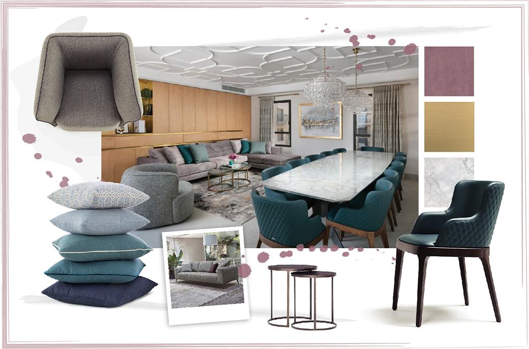 Salotto con divano in nabuk e tavolo in marmo