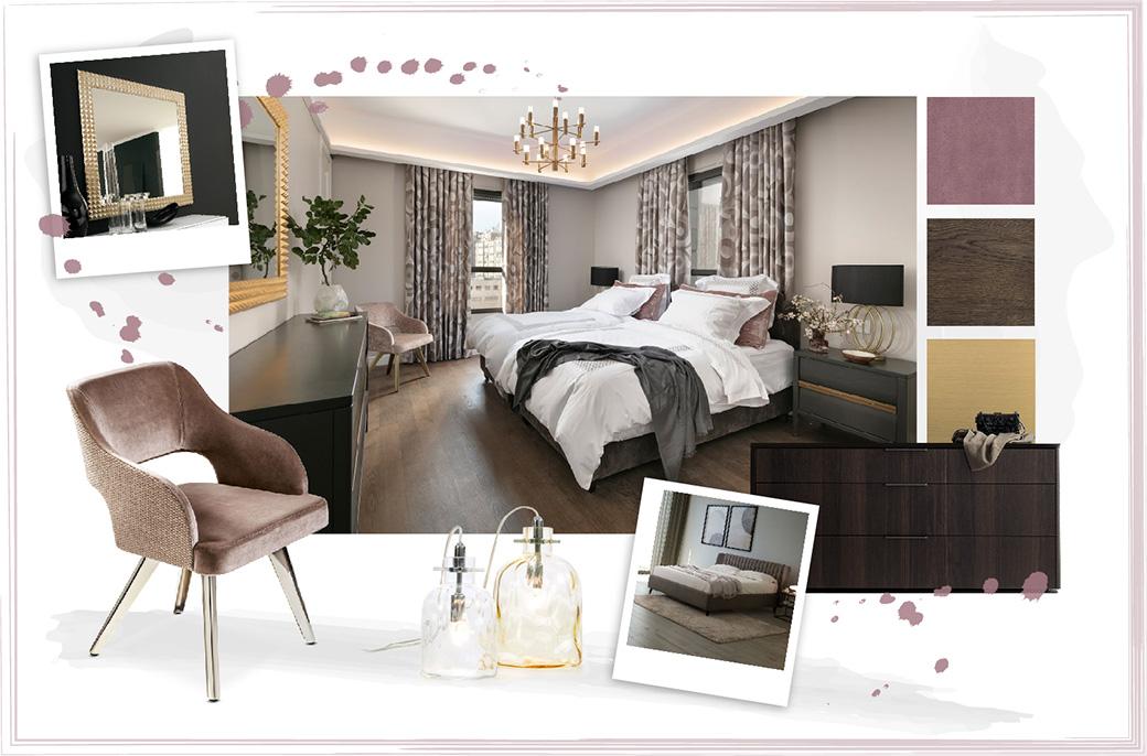 Camera da letto con letto e comodini scuri e poltroncina rosa