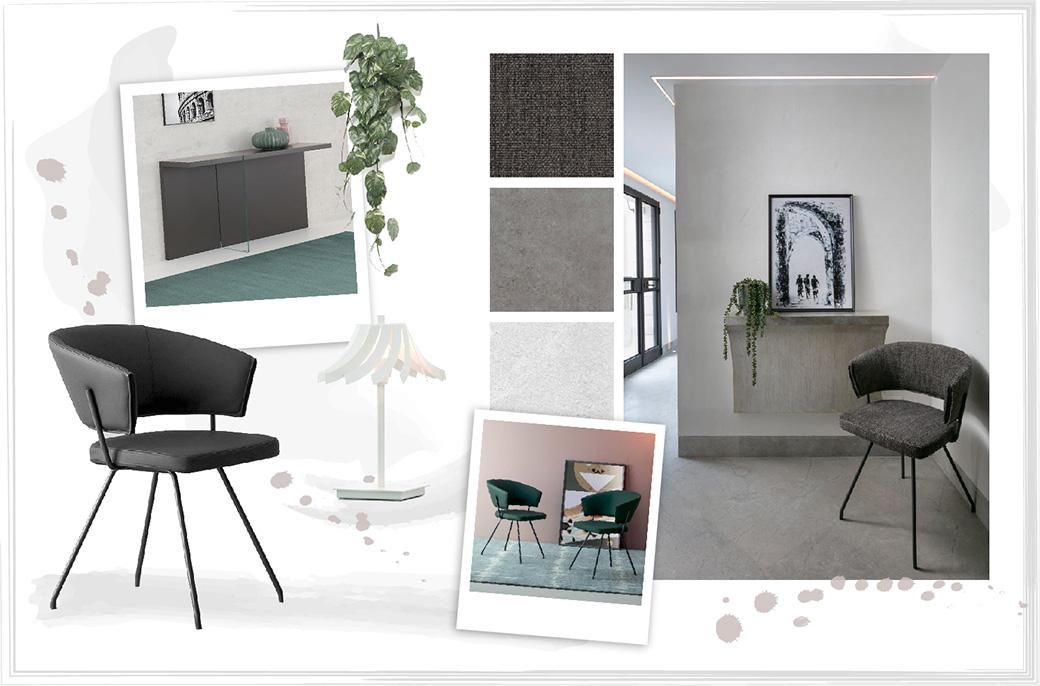 Ingresso con consolle sospesa grigia e sedia di design nera