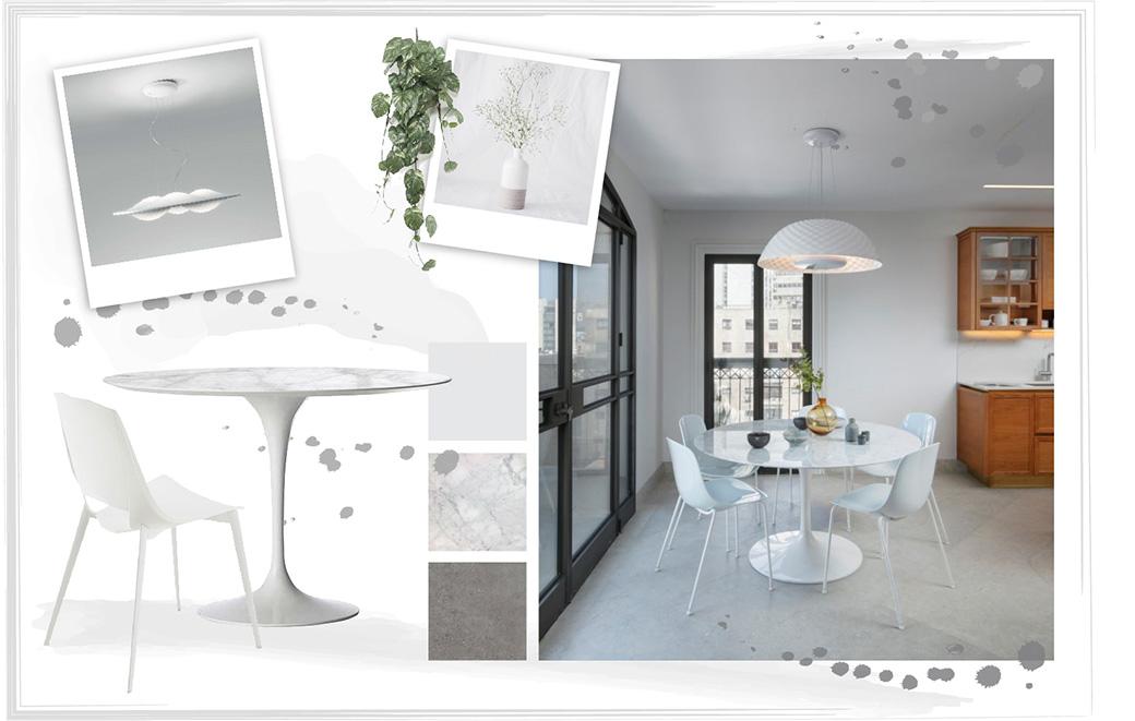Tavolo rotondo in marmo bianco e grigio con sedie bianche