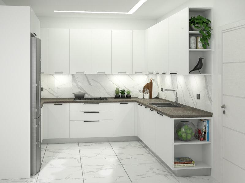 Render progetto cucina a U bianca