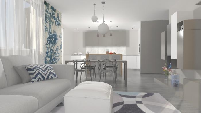 arredaclick blog - il progetto #1: un open space con cucina a ... - Soggiorno Living Progetto 2