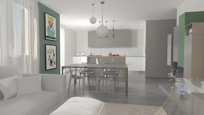Seconda variante: soggiorno grigio, bianco, verde