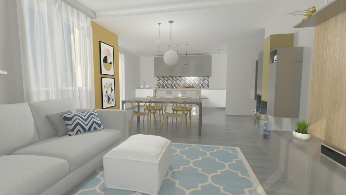 Prima variante: soggiorno grigio, bianco, giallo senape