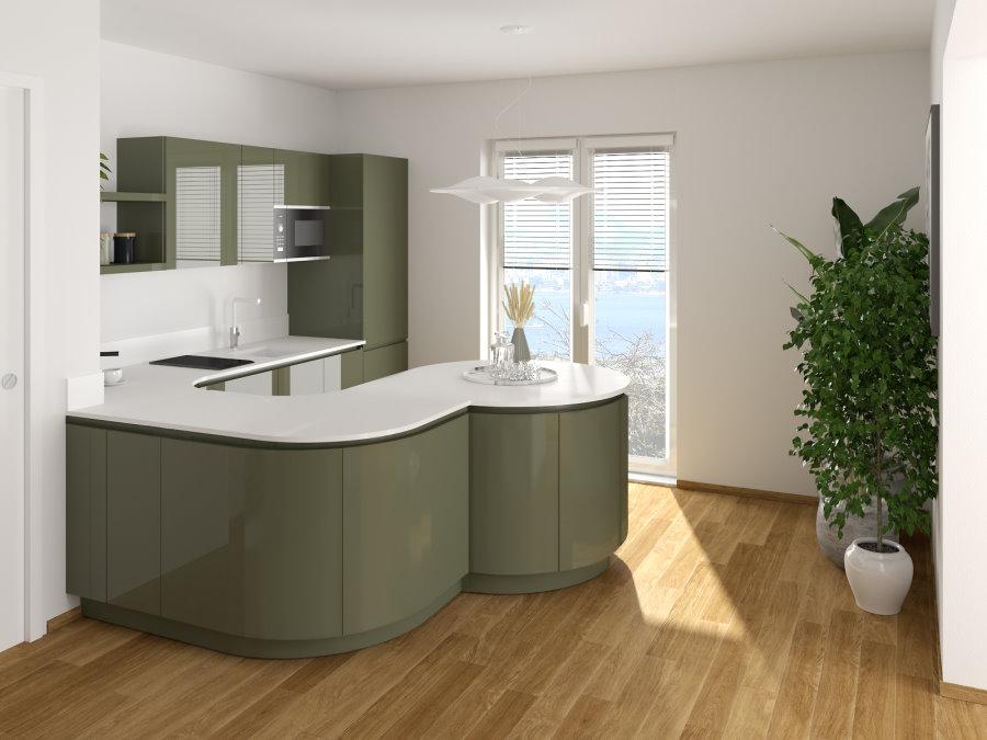 Render cucina curva verde e bianca