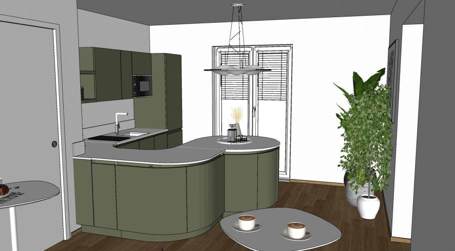 Le basi contenitore della cucina presentano ante di finitura verso la parte esterna, ante apribili verso la parte interna