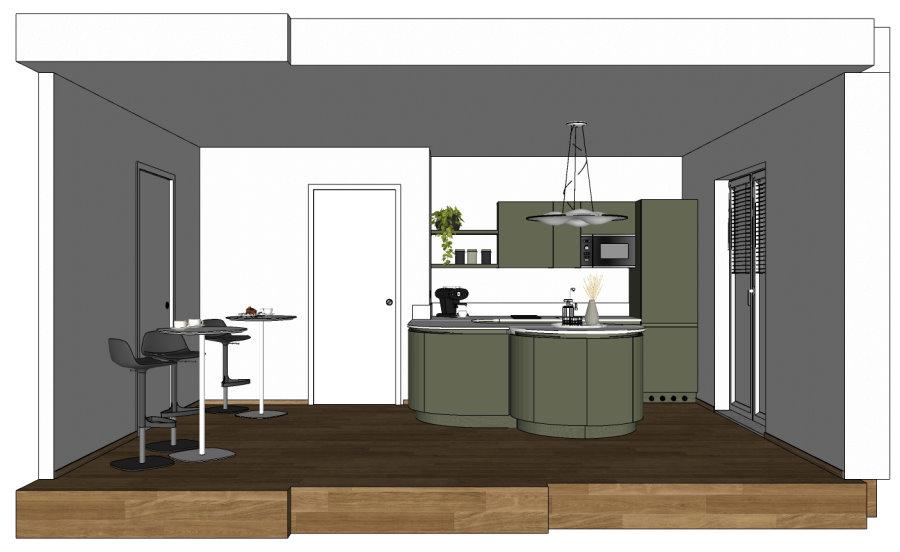 Vista laterale dell'ambiente con cucina e tavolini