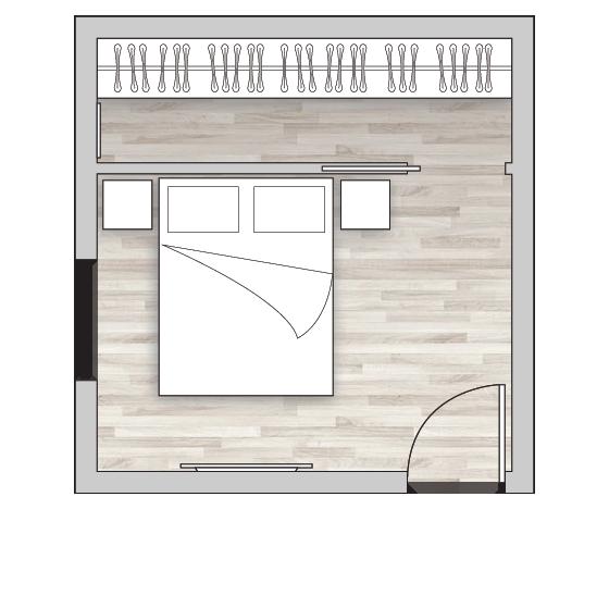 Cabina armadio lineare dietro il letto