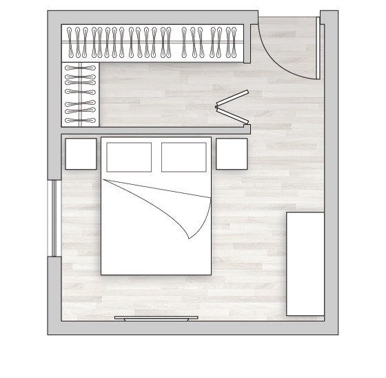 Stanza cabina armadio angolare dietro il letto