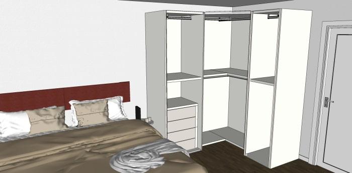 Cabina armadio angolare: dettaglio dell'organizzazione interna