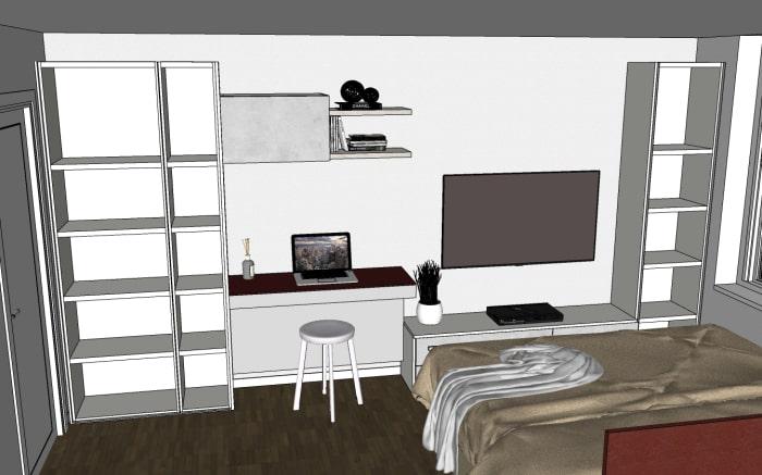 Colonne armadio / libreria a profondità ridotta: dettaglio dell'interno