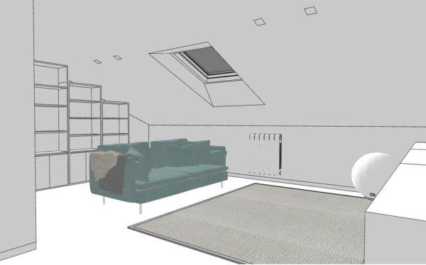 Libreria componibile su misura che segue la linea obliqua del tetto