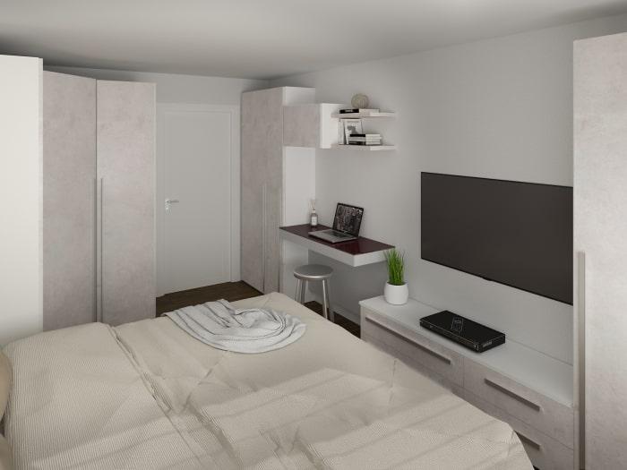 Progetto di camera matrimoniale con zona studio attrezzata