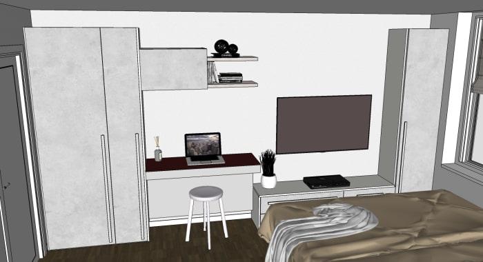 Camera con studio: vista frontale della parete attrezzata