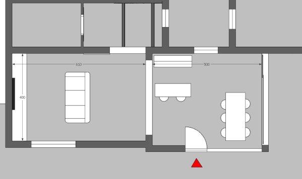 Pianta 2D del locale taverna situato al piano terra dell'abitazione