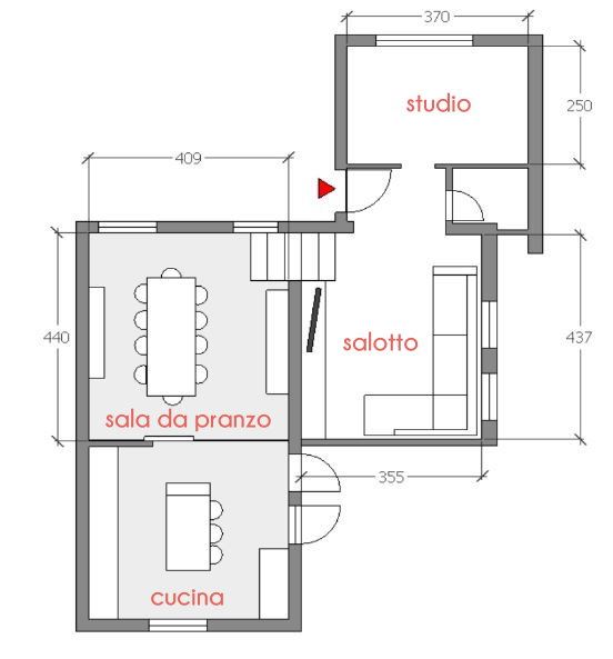 Idee il progetto un 39 idea per dividere cucina e sala da for Cucina e sala insieme