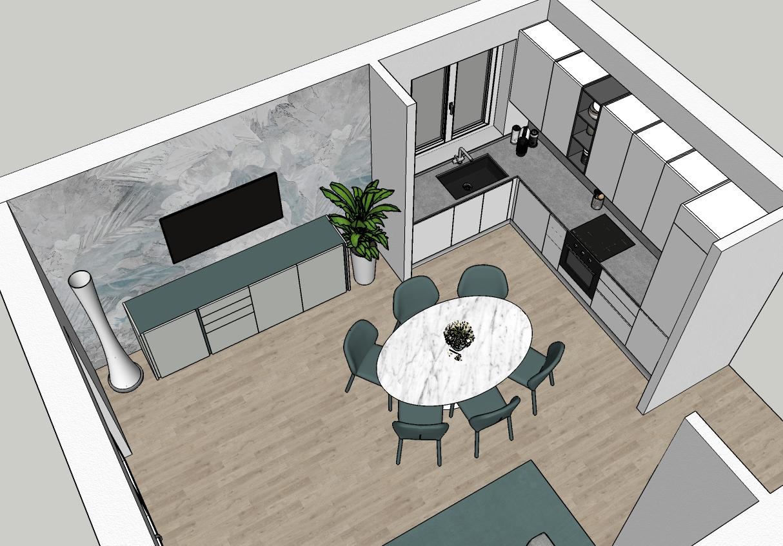 Render open space con cucina e zona pranzo