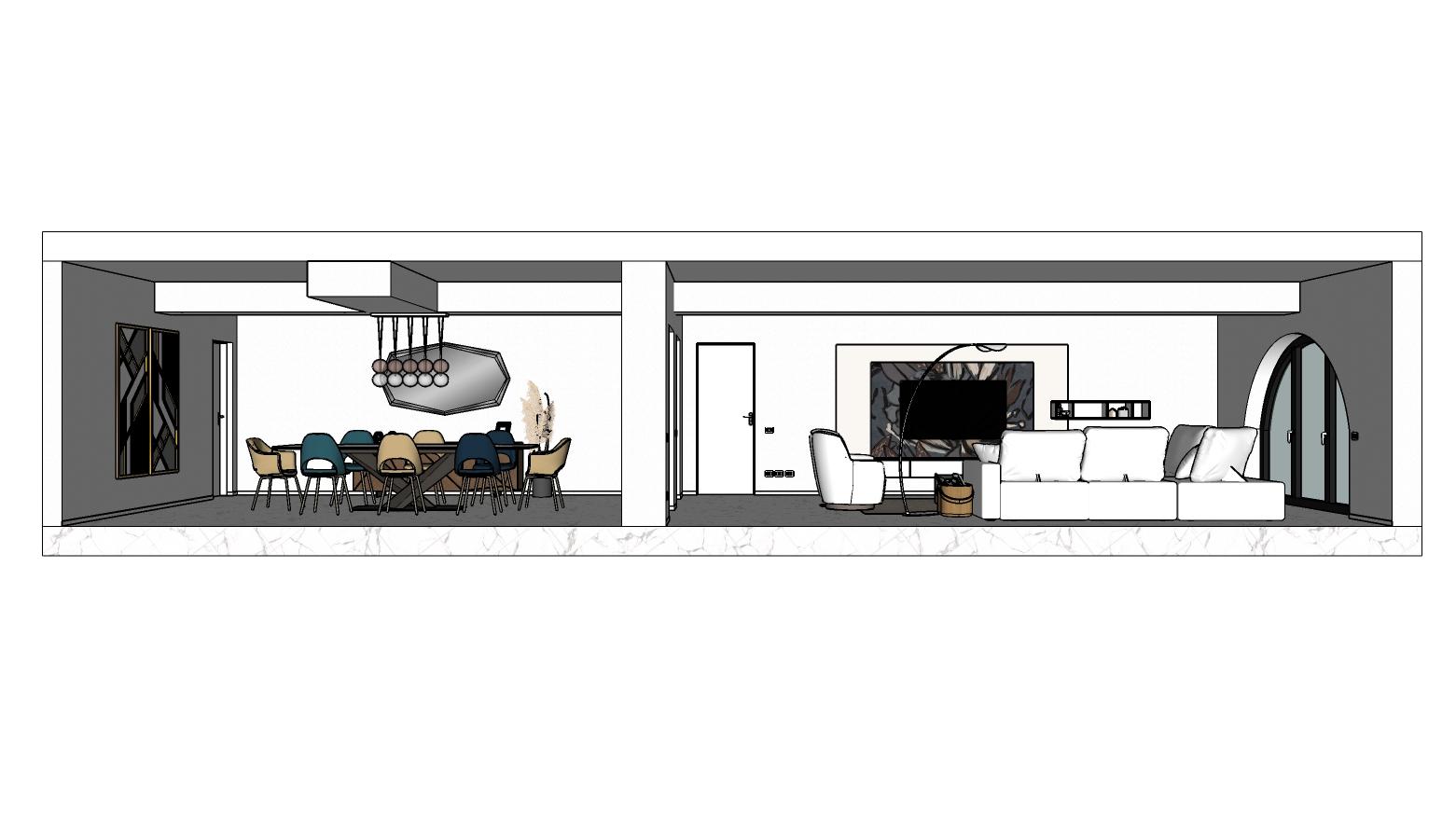 Vista laterale dell'open space: sala da pranzo sulla sinistra, salotto sulla destra