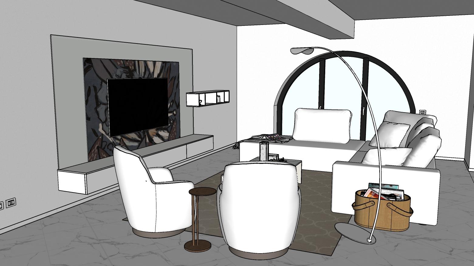 Salotto total white con divano centro stanza