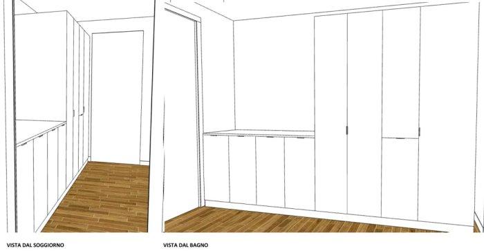 Render di EasyRelooking: vista del corridoio dal soggiorno e dal bagno