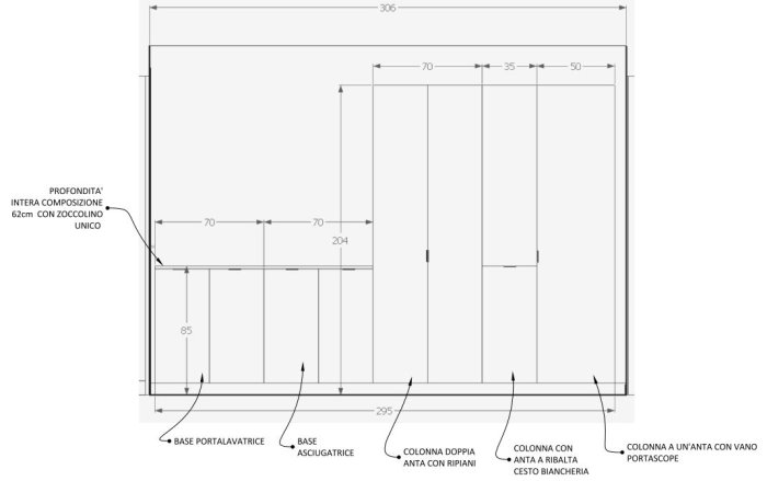 Progetto di armadio per corridoio e render realizzati da EasyRelooking
