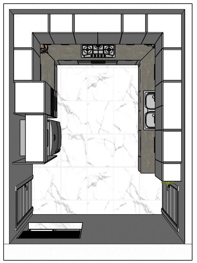 Visione dall'alto della cucina, disposizione dei mobili, porte e finestre